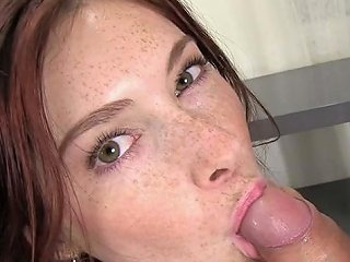 Naughty Chick With Sexy Freckles Gives Good POV Blowjob