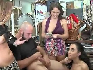 Girls At The Antique Shop Suck His Dick