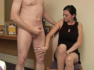 Classy Babe Jerking Hard Dick In CFNM Action