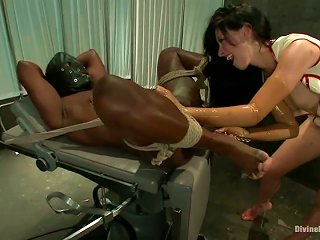 Tied Up Black Dude Getting Ball And Cock Torture And  Sitting
