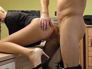 Spreading Legs On The Table Blondie Karol Gets Tight Twat Fucked Mish