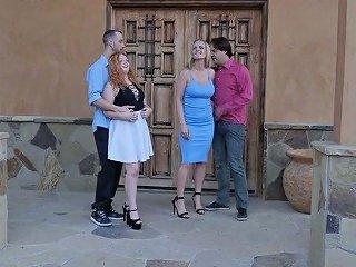 Stunning Lucy Foxx And Rachael Cavalli Swap Boyfriends For Terrific Fuck