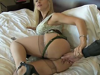 Magnificent Blonde Babe On The Bed Deepthroats Black Dick And Bends Over