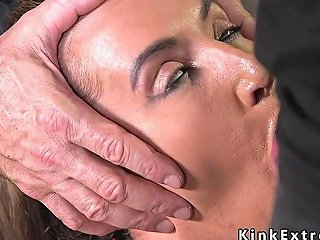 Crotch Roped Busty Slave Throat Fucked