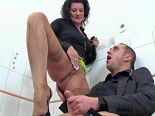 Curly Haired Fat Brunette In The Toilet