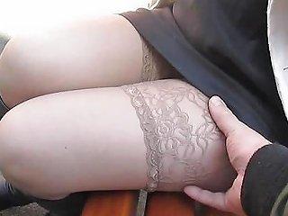 Chick Flashing Tan Stockings With Garter Belts Hd Porn 2b