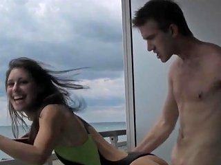 Hot British Girl Balcony Fuck Onepiece Swimsuit Huge