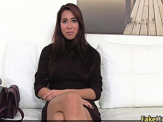 Sexy Tanned Brunette Fuck On Interview Drtuber