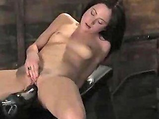 Brunette Fucked By Dildo On Drill In Bench