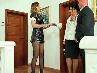 Maid Joins Couple For Clothed Hardcore Sex