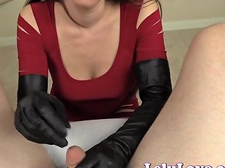 Lelu Love Red Dress Leather Boots Gloves Handjob Cumshot