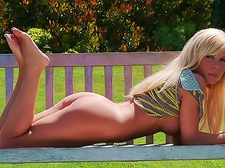Naked Blonde On Park Bench