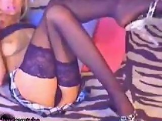 Small Titted Blonde Girl In Heels And Stockings Does Double Penetration And Plays With Anal Beads