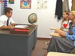 Aunt Watches As Teacher Fucks Pigtailed Redhead Teen