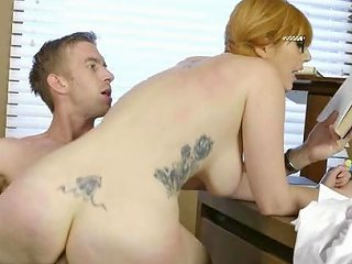 Hairy Redhead Banged At Work By The New Guy