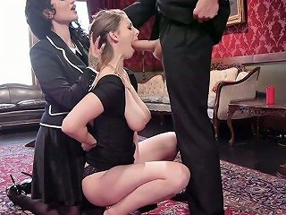 Whorish Dominatrix Arabelle Raphael And Her Assistant Punish Sweet Looking Coed