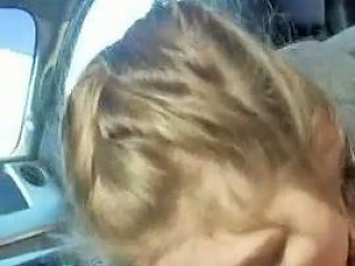 Blonde College Girl With Braids Sucks Cock In The Car