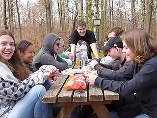 German Teen Does Naughty Experiments To School Students In A Public Forest