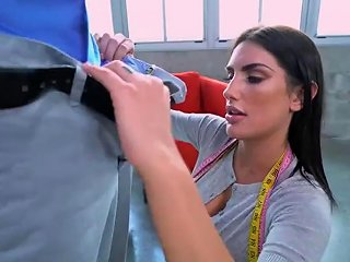 Busty Brunette Tailor August Ames Gets Distracted By Client's Bbc Sunporno Uncensored