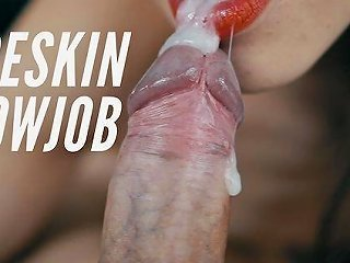 Foreskin Blowjob Causes A Pulsating Cumshot Oral Creampie