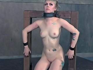 Wearing Metal Collar Submissive Blonde Bitch With Small Tits And Bdsm Stuff