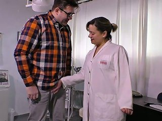 Horn Mad Plump Nurse Works On Her Naughty Patient's Uncut Cock