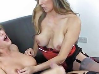 Hot Blonde Shemale Wanks Big Cock As Hot Milf Helps Her
