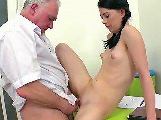 Skinny Chick In Nasty Hardcore With Older Teacher