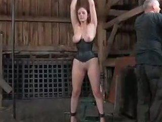 Submissive Voluptuous Brunette In Tight Black Corset Gets Tied With Ropes