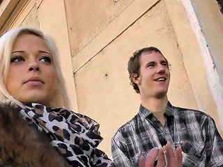 Two Dudes Pick Up Amateur Blond Chick And Fuck Her One After Another