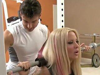 Sporty Blonde Hottie In The Gym Deepthroats A Dick