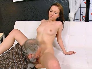 Pretty Blondie Enjoys Pussy Licking From An Old Man With Beard