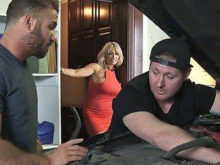 Zesty Milf Allysa Lynn Fucks Husband's Friend While Husband In The Garage