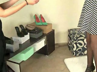 Kinky Girl With Dyed Hair Tessa Tries Different Shoes On