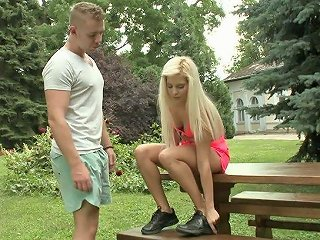 Blue Eyed Hungarian Blonde Candee Licious Gets Laid Right In The Park