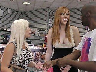 Slutty Bombshell Lauren Phillips And Her Nasty Gf Go Wild In The Glory Hole Room