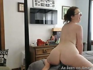 Wild Dirty Nerdy Brunette With Big Boobies Uses Huge Toy For Masturbation