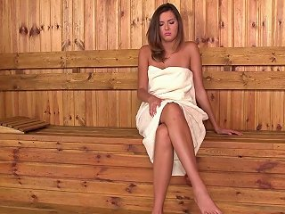 Sweet Beauty Agness Is Posing Naked In The Sauna