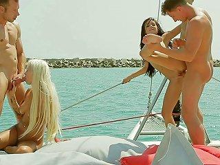 Bikini Clad Babe With Big Natural Tits Enjoying A Hardcore Foursome On A Yacht