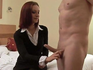 Lusty Business Woman Wanked Off My Buddy's Strong Cock At Home