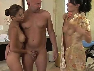 Two Sexy Asians Suck And Jerk Off A Lucky Man's Cock