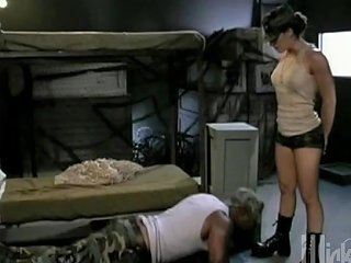 Female Officer Rides Huge Black Soldier's Dick With Her Cap On