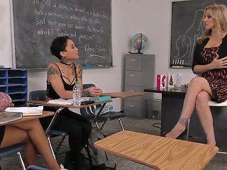 Lusty Strict Blonde Professor Julia Ann Makes Two Ebony Students Eat Her Twat