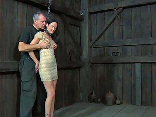 Brunette Angel In Iron Collar Hailey Nicki Pleases Her Horny Aged Mentor
