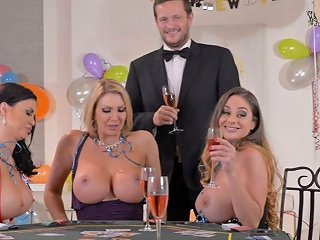 Poker Is Turned Into A Stripping Of Super Busty Sexy Blonde Milfs