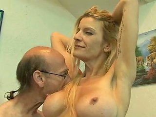 Huge Breasted Milfie Blonde Flashes Her Hairy Armpits And Gives Titjob