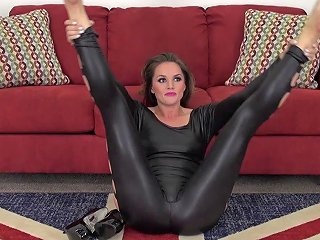 Shiny Leather Catsuit On A Perfect Brunette Pornstar