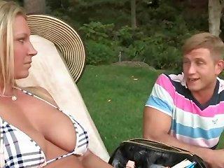 Blonde Milf And Teen Sunbathing Together Topless Drtuber