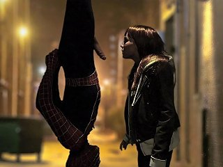 Affectionate Babe Giving Spider Man Superb Blowjob In Parody Shoot Outdoor