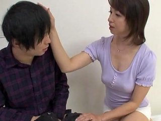 Japanese Mom Fingers Her Pussy And Gives A Hot Blowjob To A Guy